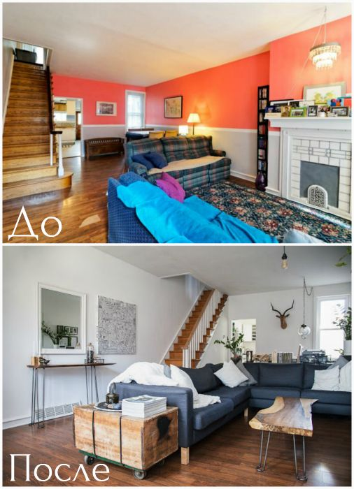 Transformation of colorful living room in stylish neutral space.