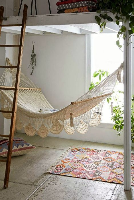 A bright space with a hammock.