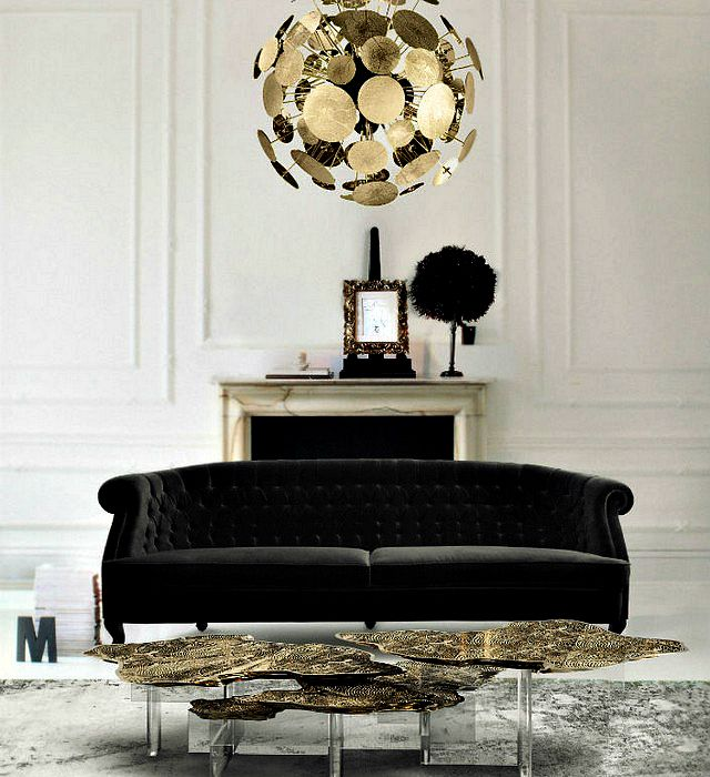 Living room in black and gold color.