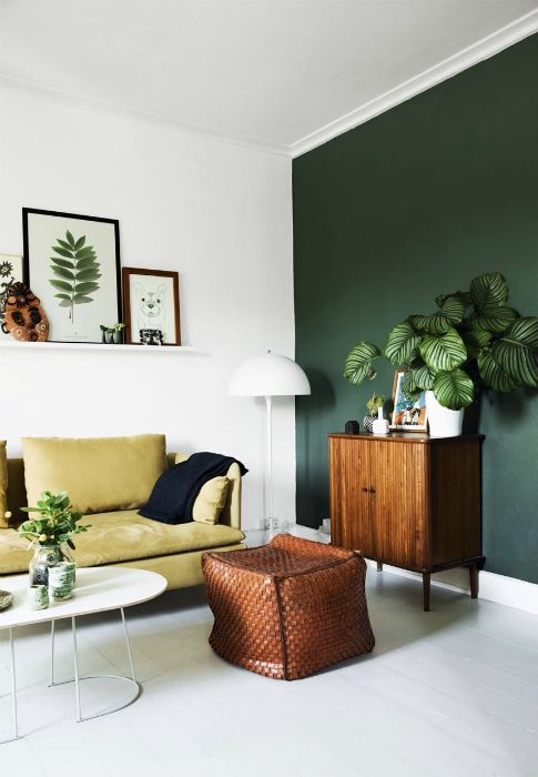 The bright living room with dark green accent wall.