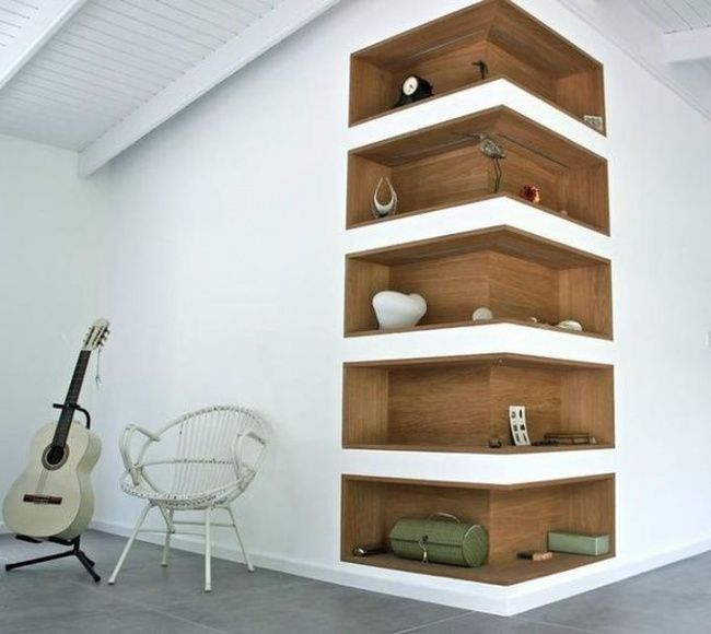 Shelves in the wall of plasterboard.