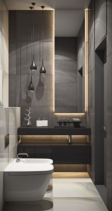 The original dark bathroom interior transformed by a concealed lighting.