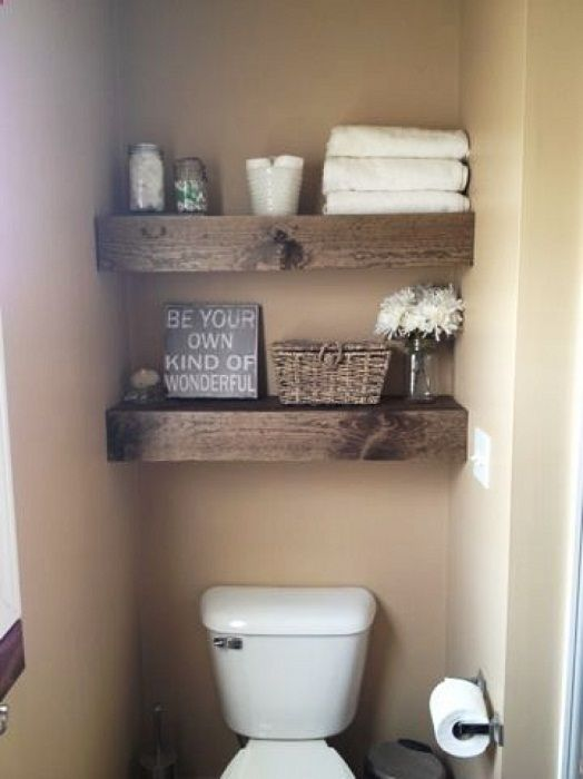 The interesting interior in the bathroom is created through pallet racks.