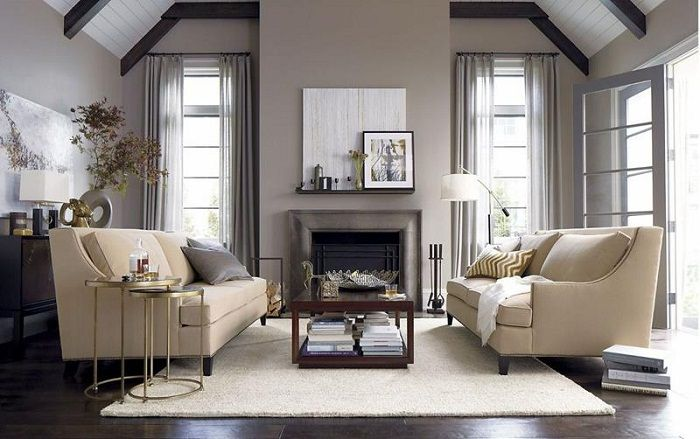 If you place a symmetrical two sofas in the living room is possible to create more space for entertainment.