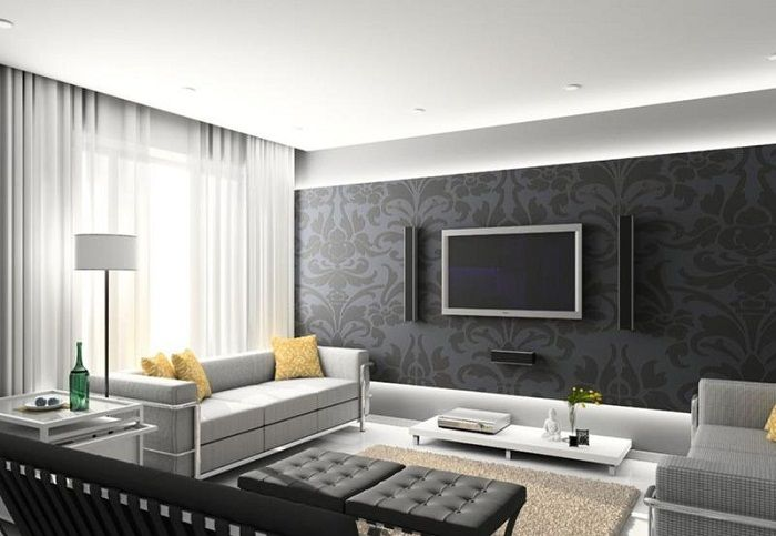 Effective option to create accent wall in a small and cozy living room.