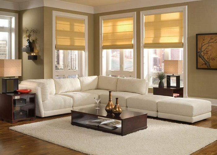 Placing the sofa under the window in your living room can make a small home furnishings more attractive and comfortable.