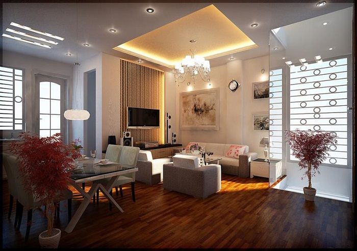 The open-plan room chandelier will play a key role transforming the interior of a small living room.