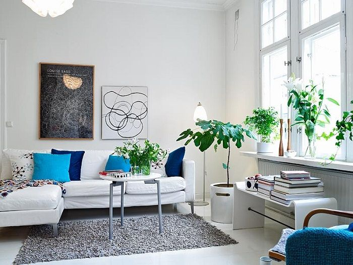 White color scheme of this small living room reflects the natural light in the room.