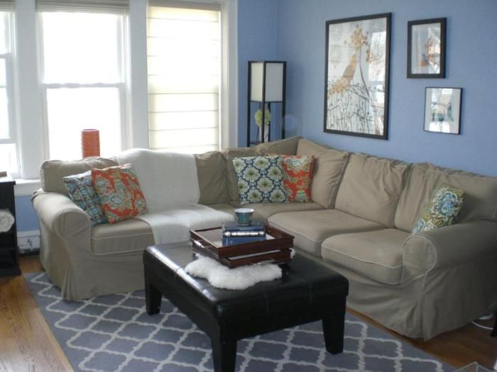 Soft and large sofa adds to the ease of the interior in soft blue tones.