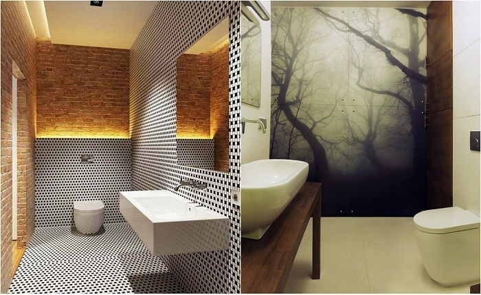 Examples of modern design rooms baths.