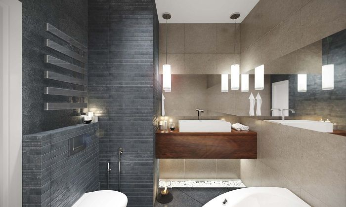 The successful solution of contrasting design the interior - one wall is dark gray, the other beige.
