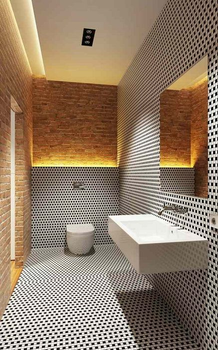 An excellent variant of bathroom design with black and white masonry that inspire.