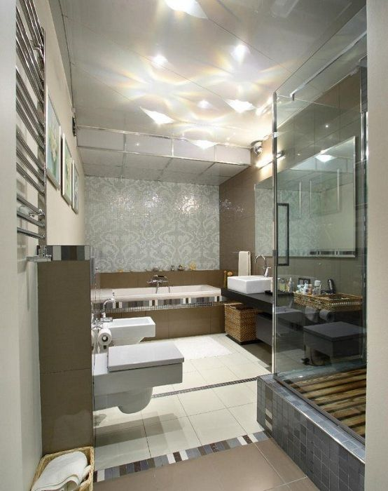 A good example of bathroom design to current trends.