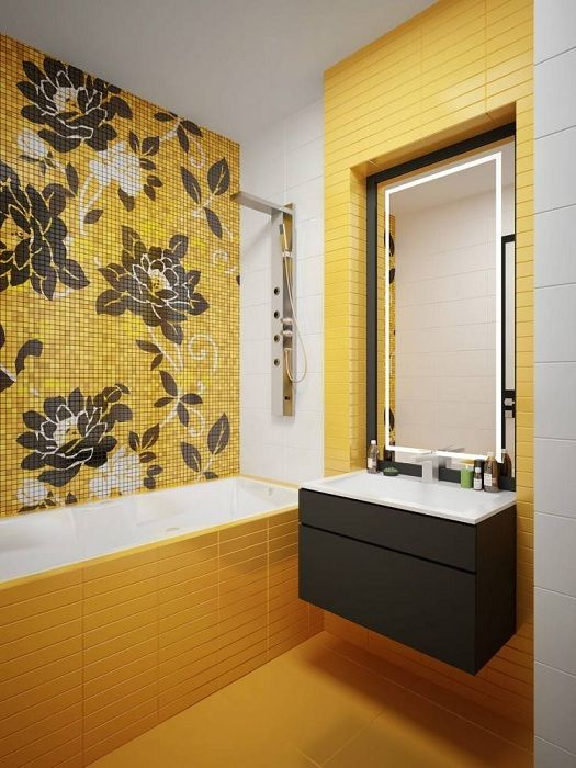 A great option to issue a beautiful bathroom interior in bright sunny mood.