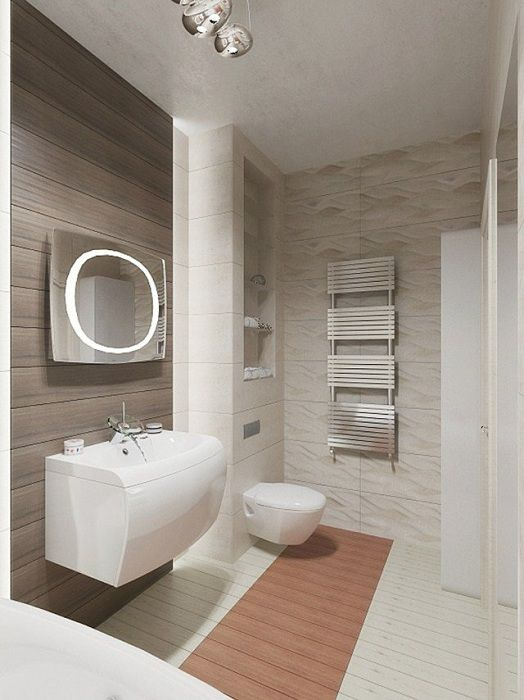 White colors in the bathroom, combined with metal elements, that will please the eye.