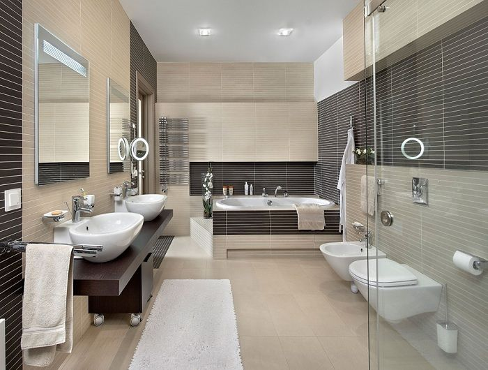 The successful combination of beige and chocolate brown decor in the bathroom that just like it.