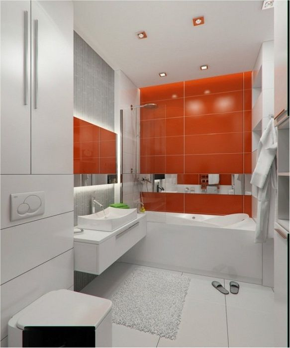 Steep example of bathroom design in white with the addition of a saturated red.
