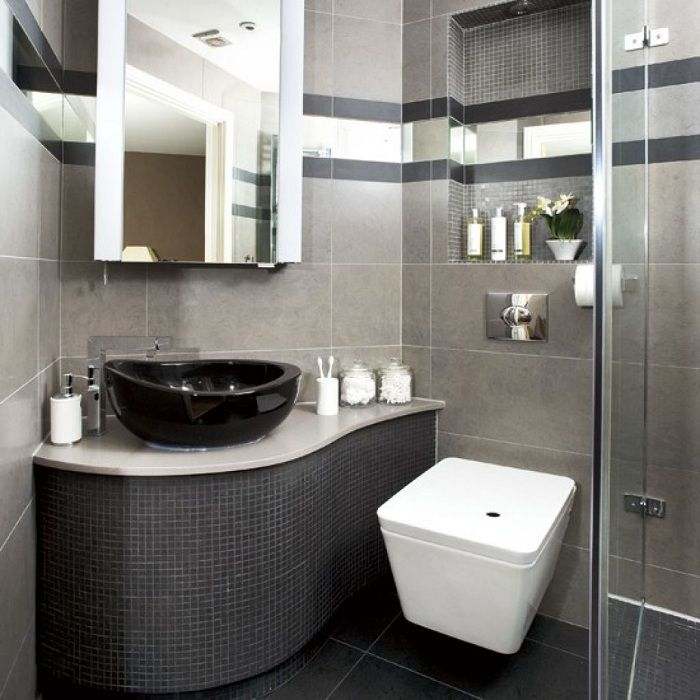Cool decor bathroom in dark tones that would be a non-standard solution.