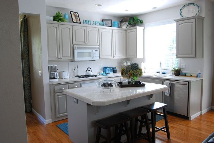 Just Great design bright kitchen with a small utility area.