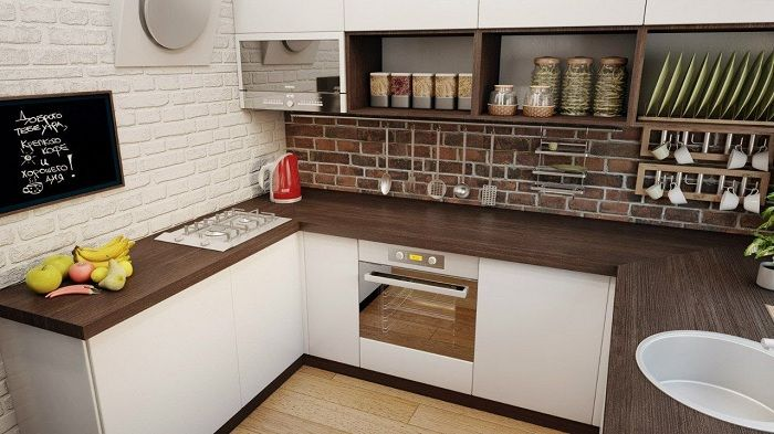 Excellent design decision to equip the kitchen in brown tones.