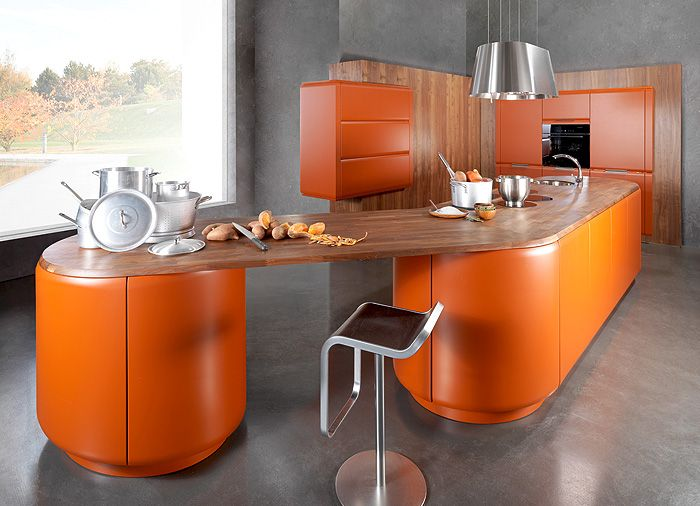 Kitchen design in pumpkin color.
