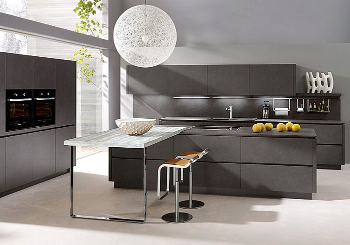 Elegant gray kitchen.