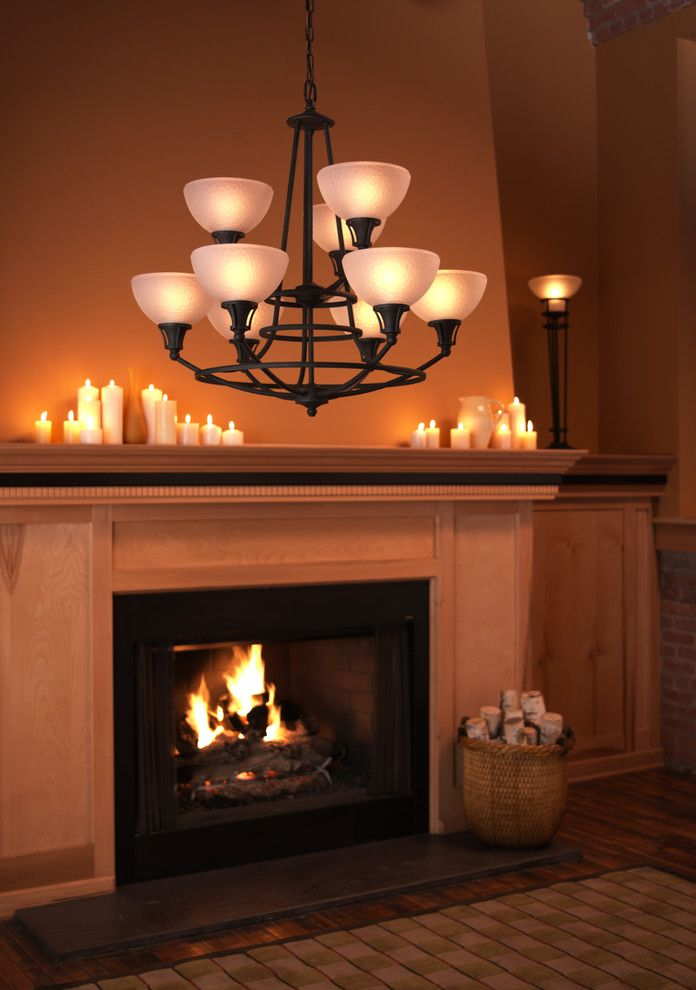 Candles above the fireplace in the interior