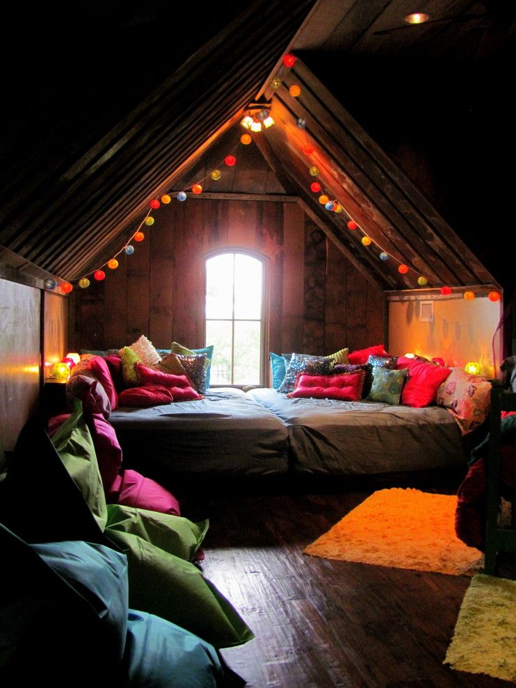 Wonderful romantic lighting in the interior of the attic