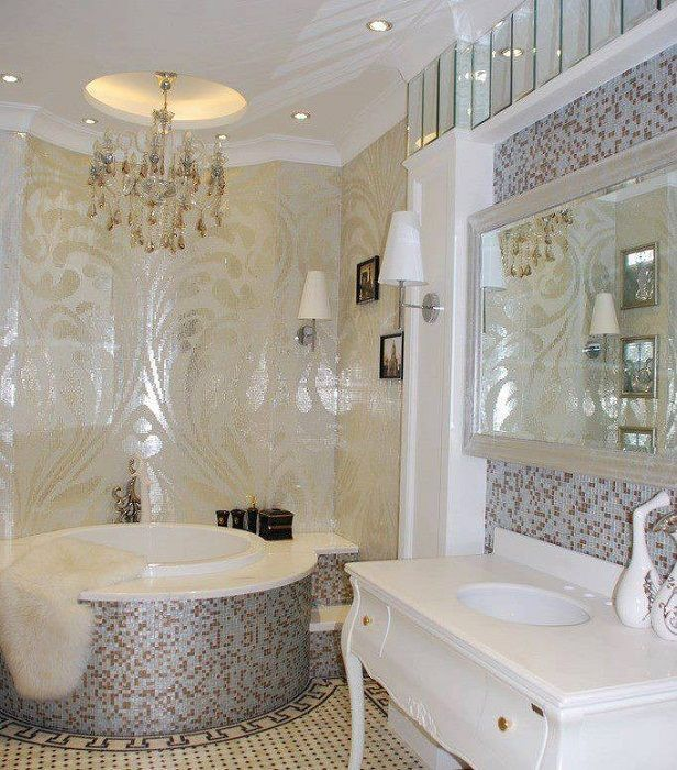 Excellent choice to decorate the bathroom with the help of a lovely mosaic that uniquely transform the interior.