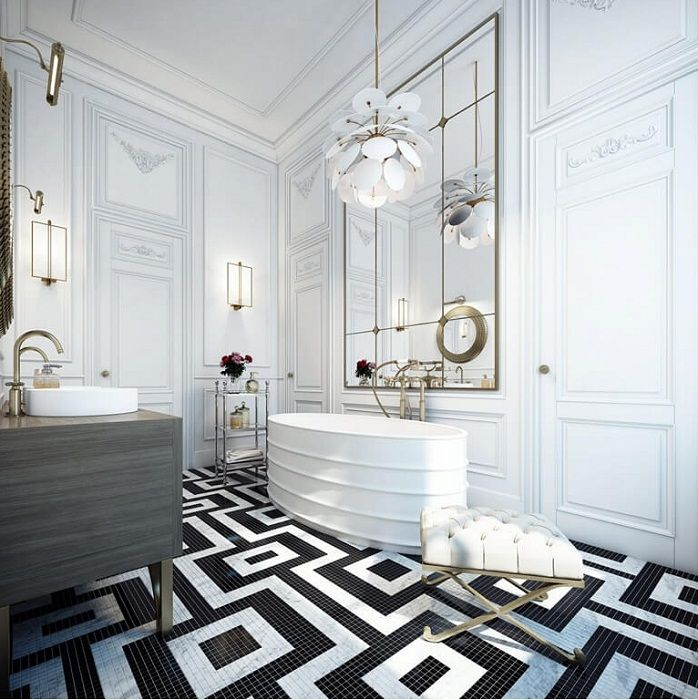 Excellent tiles in black and white colors in the form of a nice ornament that is necessary.