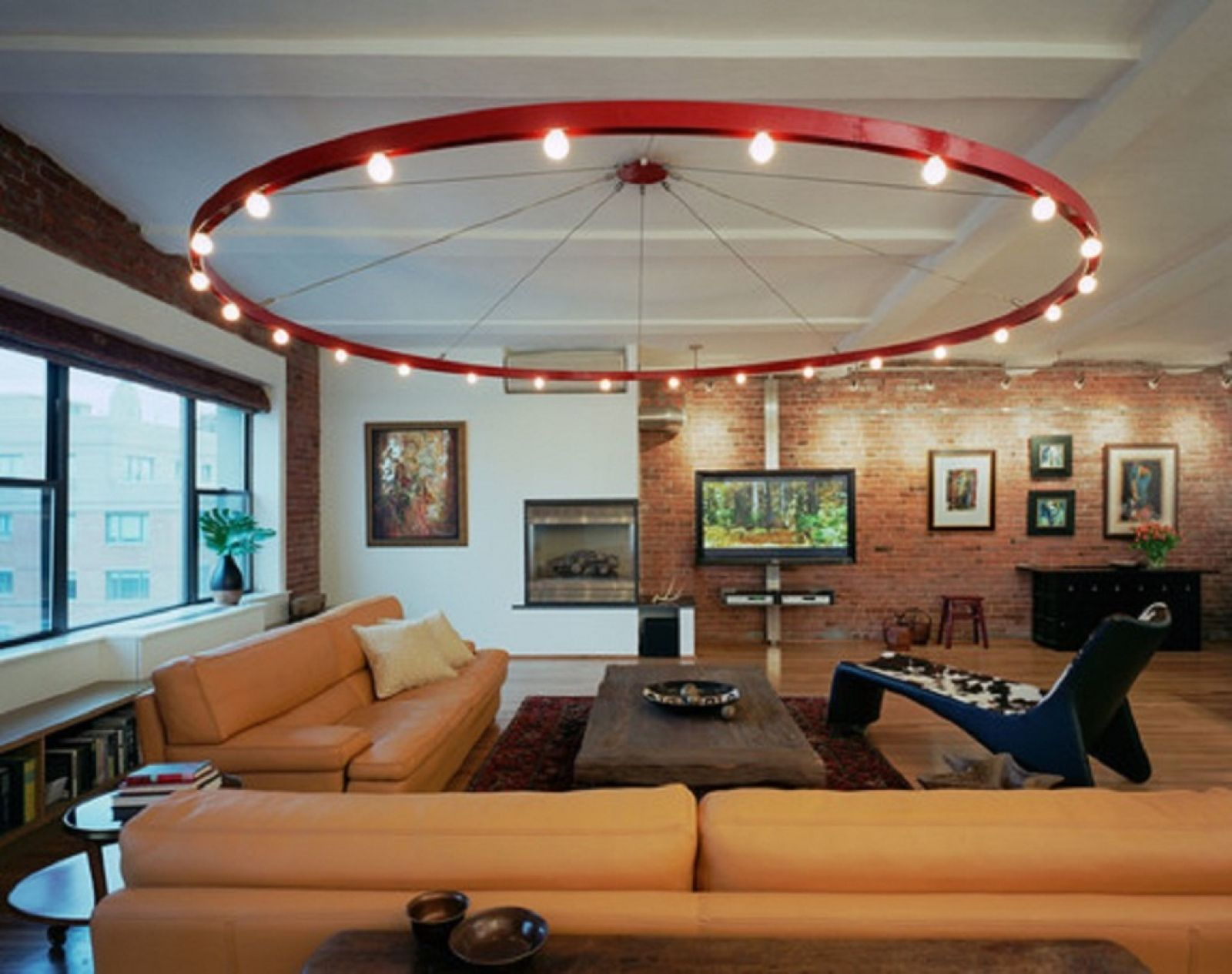 Fixtures for the living room: a large round chandelier with small lamps