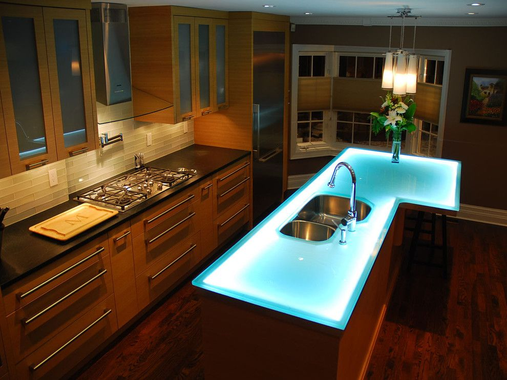Kitchen counter top with neon