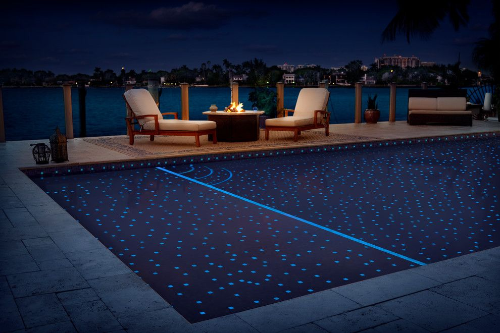 Neon lights on the bottom of the pool