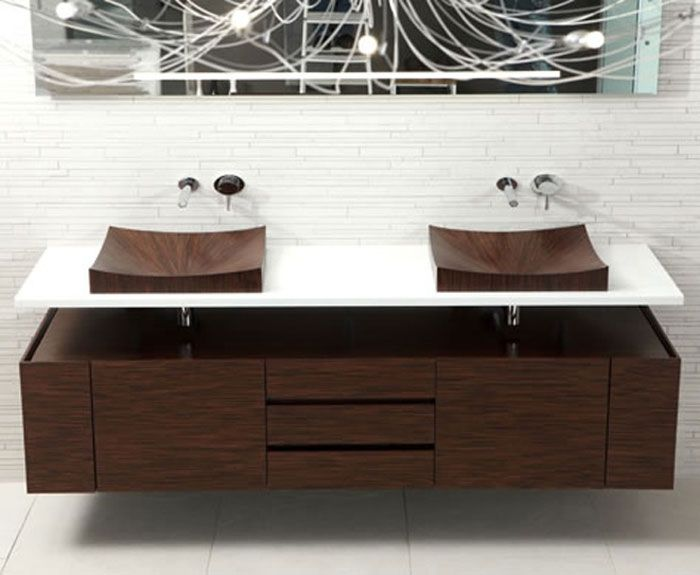 Bathroom Design a pair of original wooden shells that will impress and create a comfortable interior.
