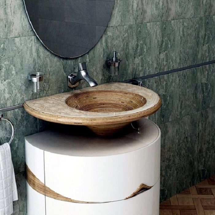 Transform the space in the bathroom is possible due to a sharp shells that inspire.