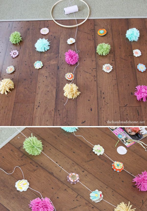 Do yourself: Mobil in the nursery of the thread. Making pompoms made of threads