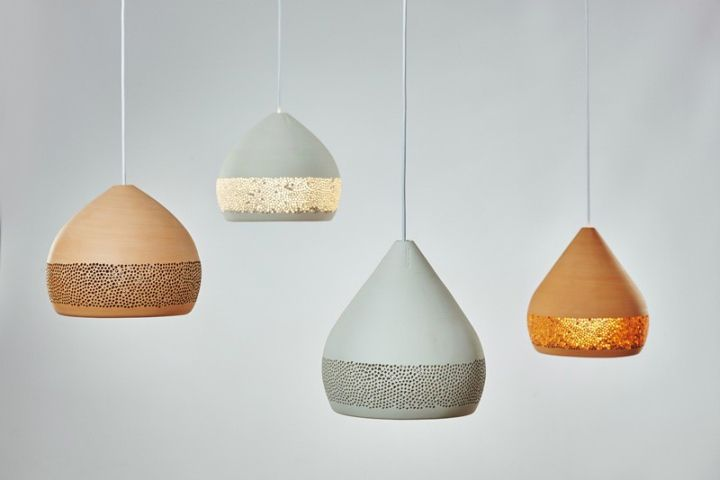 Multi-colored pendant lights dome shape SpongeOh