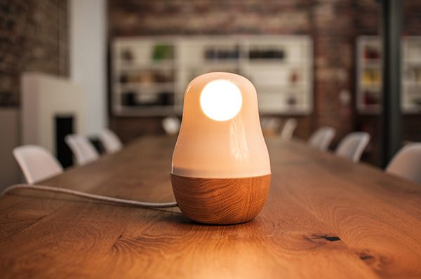 Modern design table lamp made of wood and glass