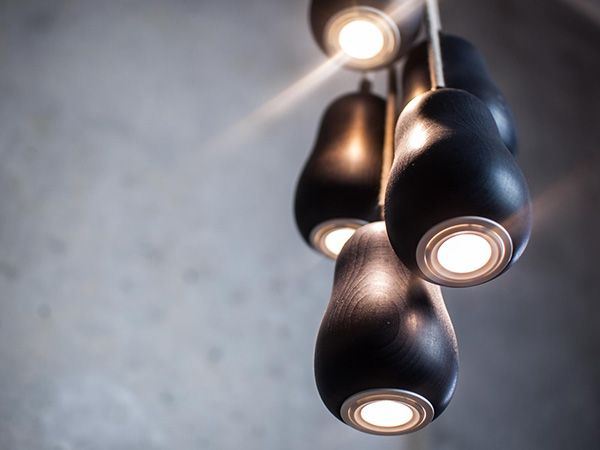 Hanging lamp made of wood painted black