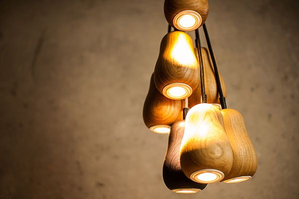 Hanging lamp made of wood light tones