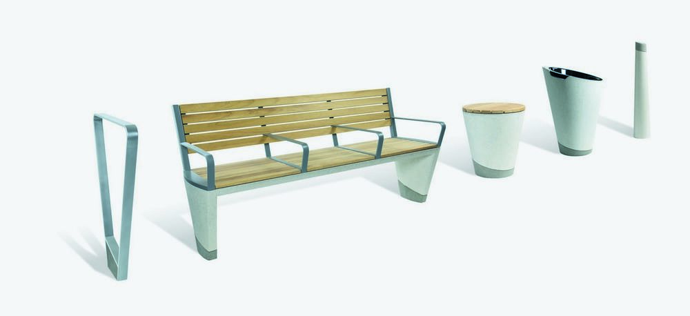 Outdoor bench seat, urn, signs