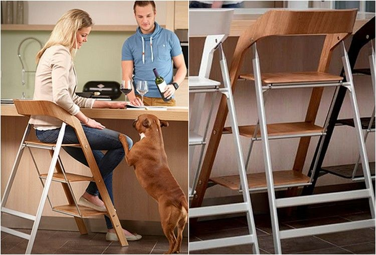 Convenient chair-step-ladder at the table