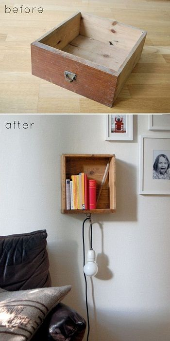 The best option to create a steep shelf in the bedroom, which clearly enjoy.