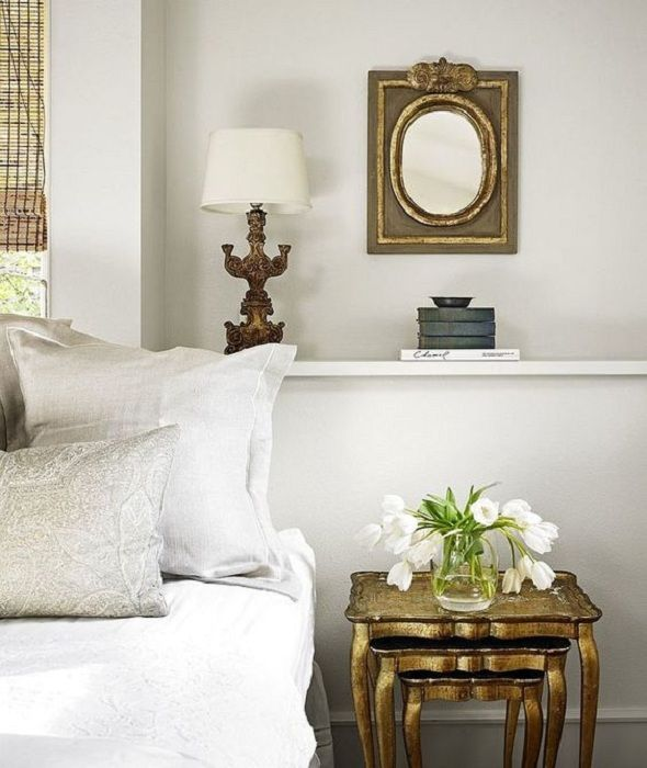 A nice option to issue bedside space using bedside shelves.