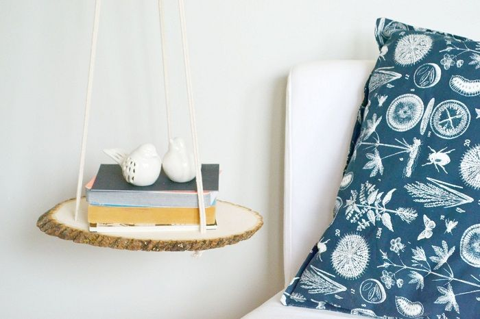 Cute and beautiful bedside option to decorate the space with the help of interesting shelves.