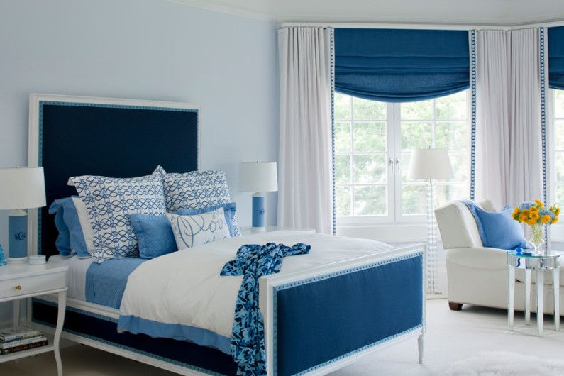 The blue color in the interior of a bedroom