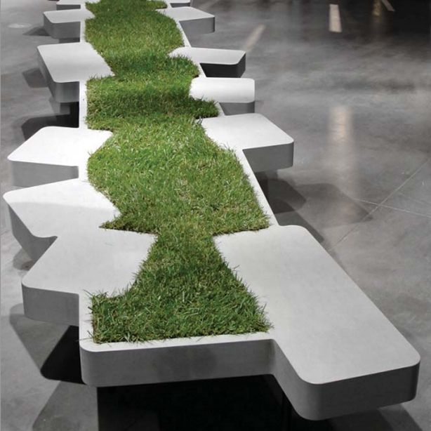 Bench with a lawn between the seats