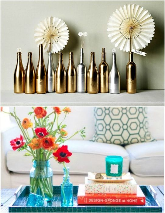 The use of bottles as home decor.