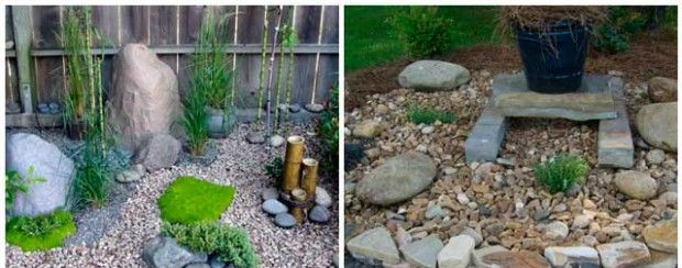 Garden stones with their hands in the country: photo