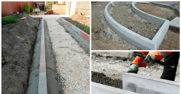 Laying of paving slabs with their hands